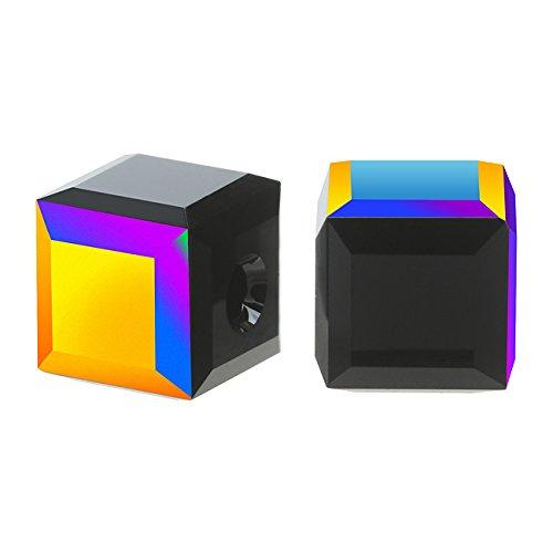 SWAROVSKI ELEMENTS Crystal #5601 8mm Cube Beads Jet AB (4 Beads)