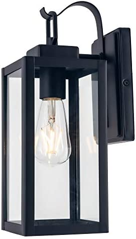 YaoKuem Outdoor Wall Lantern, Wall Sconce as Porch Lighting Fixture, E26 Base 100W Max, Aluminum Housing Plus Glass, Wet Location Rated, Bulbs not Included