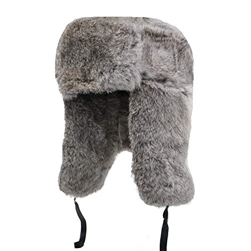 Yosang Genuine Rabbit fur Russian Ushanka Winter Hat Trapper Bomber w/Ear Flaps Grey, Large