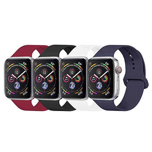 YANCH Compatible with for Apple Watch Band 38mm 40mm, Soft Silicone Sport Band Replacement Wrist Strap Compatible with for iWatch Series 4/3/2/1, Nike+,Sport,Edition,S/M,Size White/red