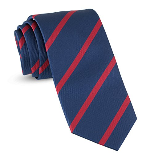 Blue Stripe Necktie (Handmade Striped Ties For Men Skinny Woven Slim Navy Blue & Red Mens Stripes Tie: Thin Necktie, Stylish Neckties For Every Outfit)