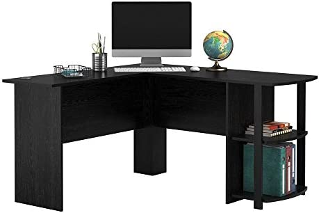 Chessleep L Shaped Computer Desk with Bookshelves for Home Office, 55 inch Writing Study Working Wooden Desk 55 , Black