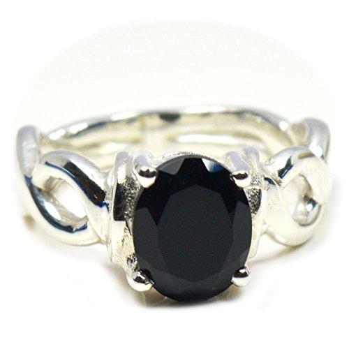 (Gemsonclick Natural Black Onyx Ring Oval Shape 925 Sterling Silver GOMMSR-350 )
