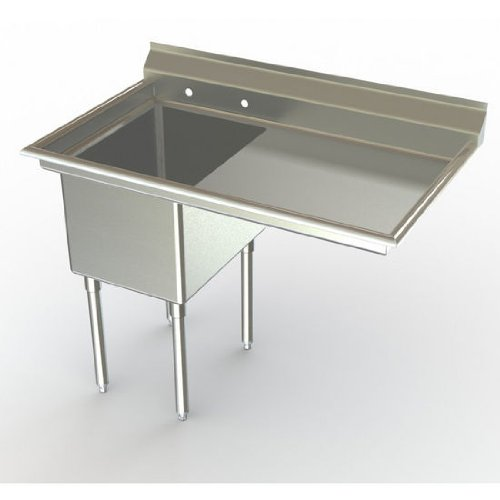 Aero NSF Deluxe Sink, 1-Bowl, With 36 inch Right Hand Drainboard, 30 inch D (Front to Back) X 20 inch W (Left to Right) Bowl