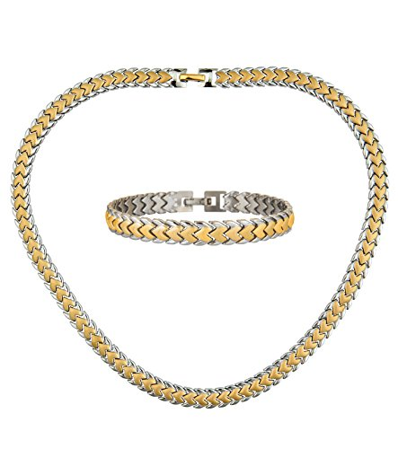 Hearts Necklace & Bracelet Women Jewelry Set Two Tone Stainless Steel Necklace: 17.5