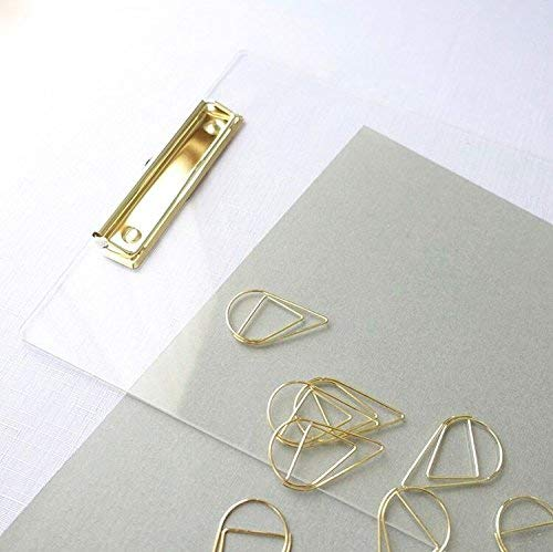 UNIQOOO Thick Clear Acrylic Clipboard with Shinny Gold Finish Clip, Perfect for Modern Arts Lover, Fashion and Style Expert, Calligrapher, Office, Seminars, Workshops, Home school, Classroom and Event Photo #3