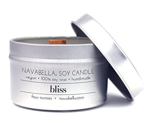 Travel Candle - Navabella Aroma Wellness 100% Soy Candle - Bliss: Infused w/Potent Blood Orange, Grapefruit + Bergamot Oils to Reduce Anxiety and Stress - Handmade w/Crackling Wood (Reduce Wax)