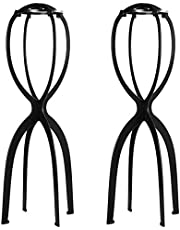 Dreamlover 2 Pack Short and Tall Wig Stands for Wigs, 14.2 Inches Portable Collapsible Wig Dryer, Durable Wig Holder, Travel Wig Stands