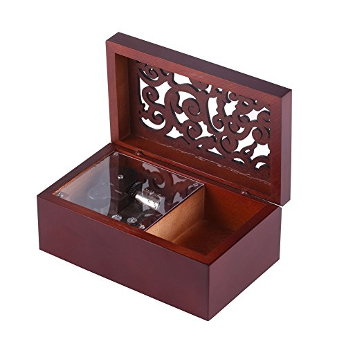 18 Note Antique Engraved Hand Crank Wooden Musical Box with Silver-Plating Movement in,Music Gift Box (Silver Movement/Edelweiss)