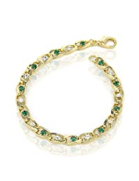 Tennis Bracelet For Women's 24 k Gold Plated With Two-Tone Zirconia Gemstone | 7.5 inch | Packed in Signature Box