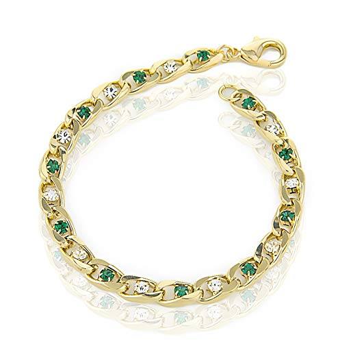 My Ritzy Cubic Zirconia Tennis Bracelet for Women 24k Yellow Gold Plated Two-Tone Gemstone | 3MM Thick | 7.5 inch | Packed in Gift Box