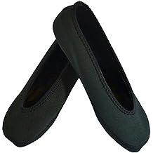 NuFoot Ballet Flats Women's Shoes, Best Foldable & Flexible Flats, Slipper Socks, Travel Slippers & Exercise Shoes, Dance Shoes, Yoga Socks, House Shoes, Indoor Slippers, Black, Medium