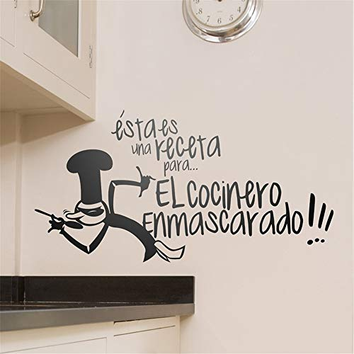 Jisou Lettering Words Wall Mural DIY Removable Sticker Decoration Receta Cocinero Enmascarado Art Decorative Kitchen Restaurant Bar -