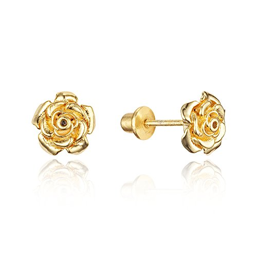 14k Gold Plated Brass Rose Flower Screwback Baby Girls Earrings with Sterling Silver Post (Baby Yellow Earrings)