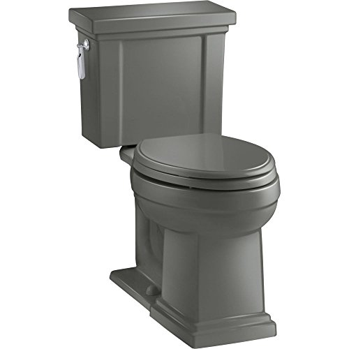 (KOHLER K-3950-58 Tresham Comfort Height Two-Piece Elongated 1.28 GPF Toilet with AquaPiston Flush Technology and Left-Hand Trip Lever, Thunder)
