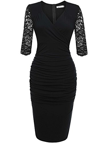 ANGVNS Women's Official V-Neck Retro Cap Sleeve Fitted Business Cocktail Dress(Black,L)