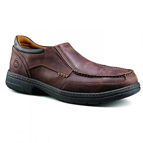 [Timberland PRO Men's Branston Moc Toe Slip-On Work Shoe,Brown Distressed,8.5 M US] (Moc Toe Work Shoes)