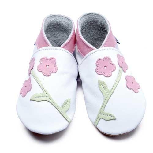Inch Blue - 1661 XL - Chaussures Bébé Souples - Oriental Blossom - Blanc / Rose Clair - T 22-23 cm