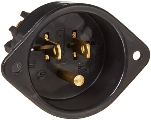 Leviton 5239 15 Amp, 125 Volt, Flanged Inlet Receptacle, Straight Blade, Commercial Grade, Grounding, Back Wired, Black