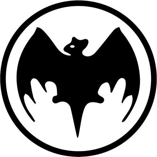 "Bacardi Bat Vinyl Decal Sticker- 10"" Wide Gloss Silver Color"