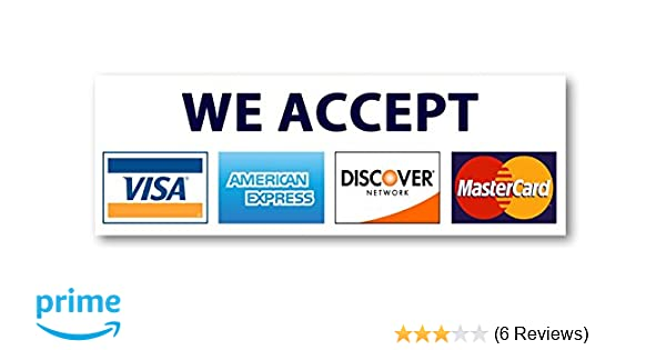 Amazon 8 x 275 credit card sign visa mastercard amex amazon 8 x 275 credit card sign visa mastercard amex discover sticker decal office products reheart Choice Image