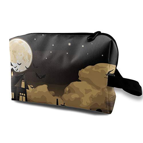 HzuGchi Happy Halloween Motif Women's Travel Makeup Bag Multifunctional Organizer Pouch Bag with Zipper for -