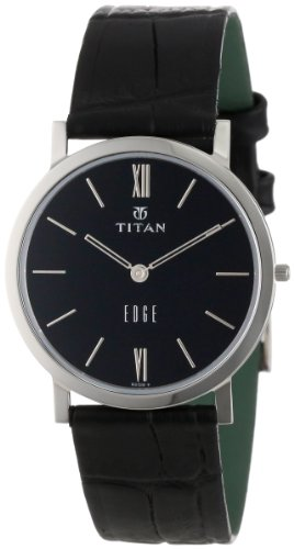 "Titan Men's 679SL02 ""Edge"" Ultra-Slim 3.5mm Thin Watch with Black Leather Band"