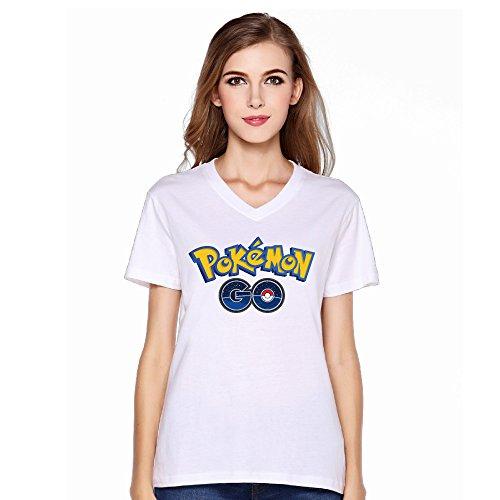 Women's Pokemon Go Logo Cool V-neck T-shirt Short Sleeve