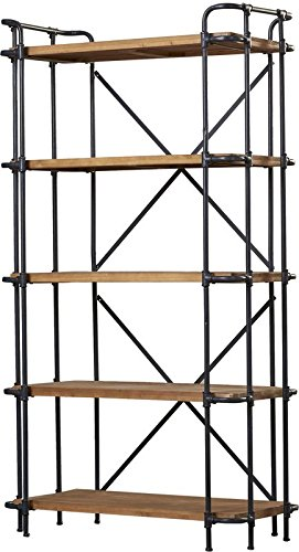 Liquid Pack Solutions Large Brown Etagere Bookcase Made of Iron in Black Color and Wood in Antique Brown Finish With 5 Shelves Will Be The Star in Your Room (Large Antique Bookcase Black)