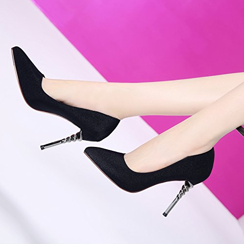 Light Fashionable Black Elegant Followed Shoes Followed Damask Lady Leisure MDRW High 10 Women'S Single Fine Spring 5Cm Port Work Heeled Tip Spiral Shoes Shoes 6qUxq5wF