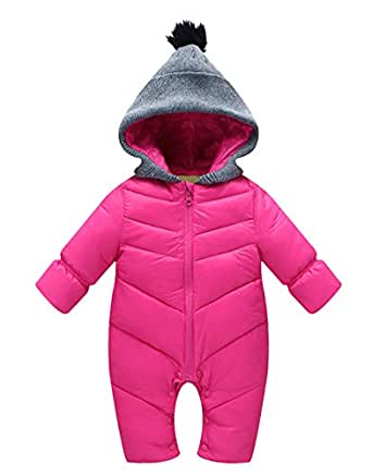 Happy Cherry Newborn Winter Romper Hooded Zipper Snowsuit Down Thick Jumpsuit for Baby Girl Boy S Rose Red