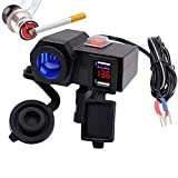 LMoDri Motorcycle 5V 2.1A Dual USB Power Port Scooter Motorbike ATV Handlebar Charger Adapter Lighter Socket Outlet Led Voltmeter Display for Phones/Tablets/GPS