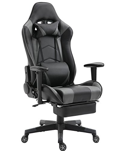 SHIONOOM Gaming Chair High Back Ergonomic Racing Chair Swivel Office Chair with Headrest Lumbar Support (Black/Gray,Footrest)
