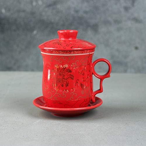 pour Cadeau Rouge Faite Main Tasse /À Th/é en Porcelaine ufengke Tasse /À Th/é Chinois Motif de Fleur Or Couvercle et Soucoupe M/énage avec Filtrer 300Ml
