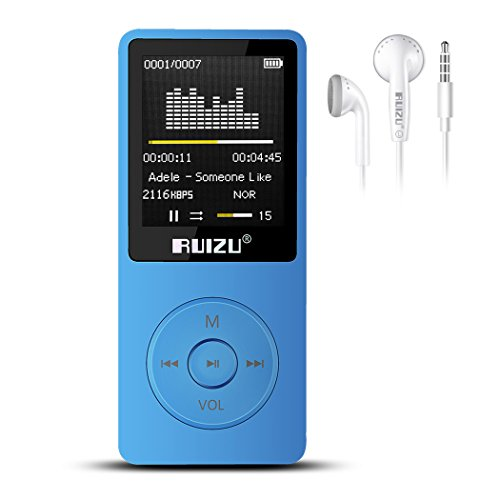 RUIZU X02 8GB Mp3 Player With FM Radio Digital Music Player For kids Support TF Card Up To 128GB (Blue)
