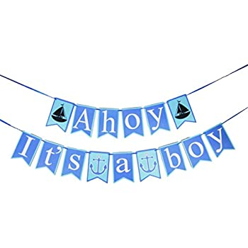 Its A Boy Banner   Ahoy Itu0027s A Boy Baby Shower Banner   Nautical Theme Baby