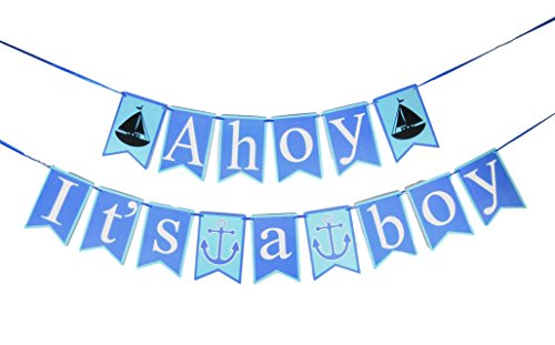 Its a Boy Banner - Ahoy It's a Boy Baby Shower Banner - Nautical Theme Baby Boy - Pregnancy Announcement- Gender Reveal Party Favors - Bunting Banners - Best Party Accessory Ideas (Blue)
