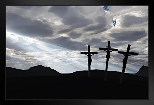 Three Crosses Crucifixion and Dramatic Sky Photo Art Print Framed Poster 20x14 - Three Pictures Crosses