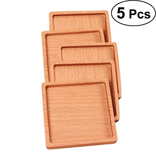 BESTONZON 5pcs Beech Wood Coasters Cup Bowl Pad Coffee Tea Cup Pads Mats Teapot Drink Coasters (Square) by BESTONZON