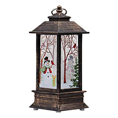 BESTOYARD Christmas Candle Lantern Battery Powered LED Lamp Decorative Table Ornament(Black Frame, Snowman)]()