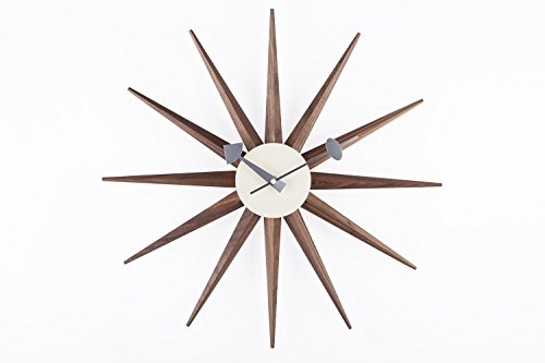 Stilnovo Sunburst Wall Clock, Real Walnut (Walnut Kitchen Clock)