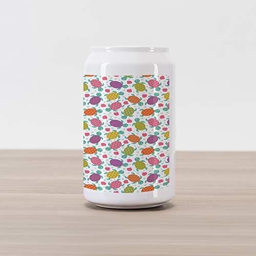 Lunarable Aquarium Cola Can Shape Piggy Bank, Baby Turtles with Colorful Shells on Oysters and Pearl Scattered Background, Ceramic Cola Shaped Coin Box Money Bank for Cash Saving, Multicolor