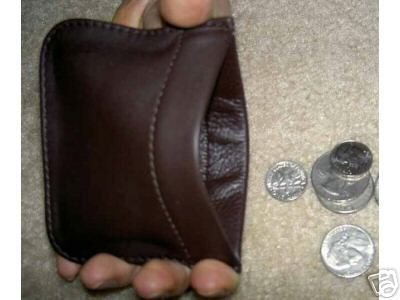 Genuine Soft Leather SQUEEZE COIN PURSE RARE UNISEX