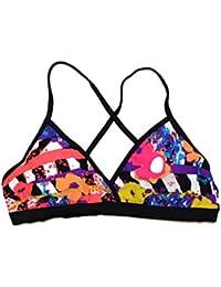 Junior's Neon Floral Halter Top Bikini Swimsuit Separates