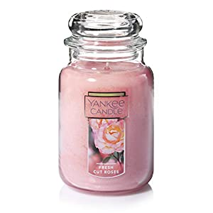 YANKEE CANDLE, Candela in Barattolo, Grande, 623 g, fragranza: Rose fresche, Vetro, Rosa, L Jar Candle