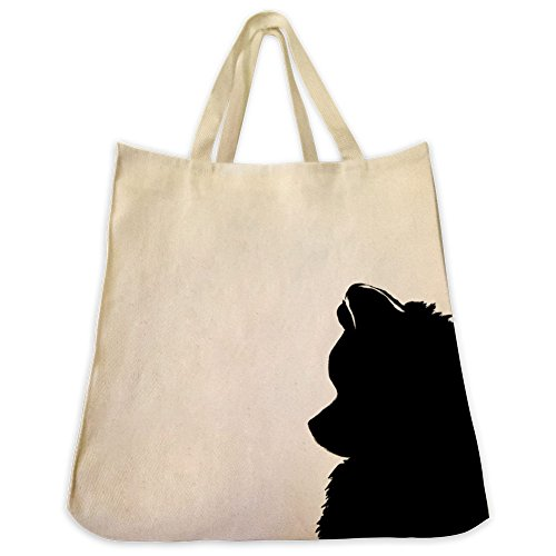 Pomeranian Silhouette Tote Bags - Over 200 Different Breed and Animal Designs to Choose From - Extra Large 100% Cotton Over the Shoulder Handbags - Painted by Hand and Printed in the U.S.A. (Boston Top Handbag)