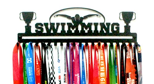 URBN Swimming Sports Medal Holder Display Rack Ribbon Hanger with 20 Hooks