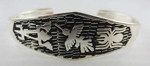 Silver Plated Black Enamel Tribal Design Cuff Bracelet