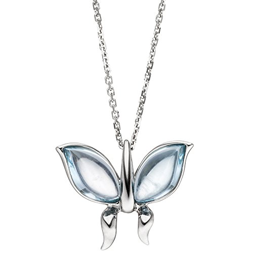 Jobo Collier Chaîne avec pendentif papillon or blanc 5852Topazes Bleues Bleu 45cm