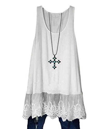 Fit White Oversized Dresses Coolred Sleeveless Women Solid Color amp; Flare Lace 6xqYvwB